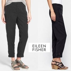 Eileen Fisher Black Tencel Button Tab Cuff Ankle P